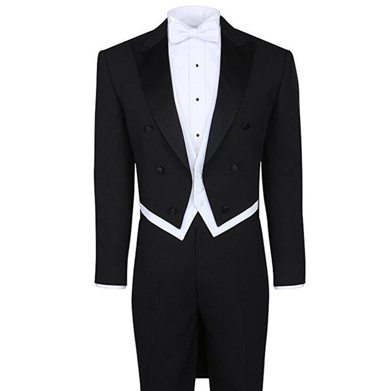 Three Pieces Black Mens Wedding Tailcoat Groomsmen Tuxedo High Quality Men Suits Party Tailocoat