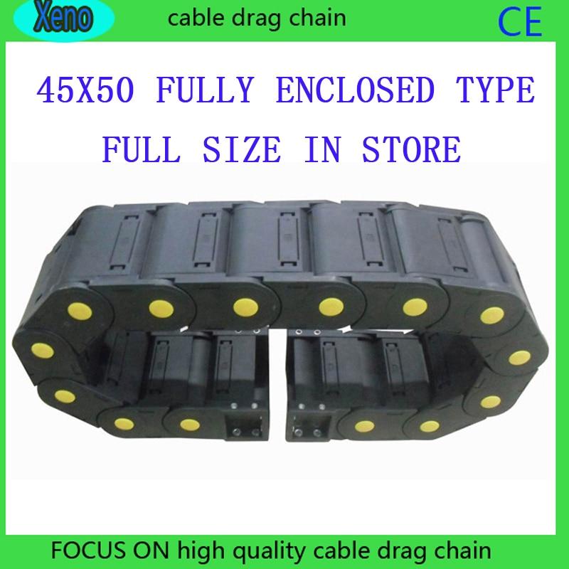 Envío Gratis 45x50 1 metros completamente cerrado tipo plástico Cable Drag Chain Wire Carrier