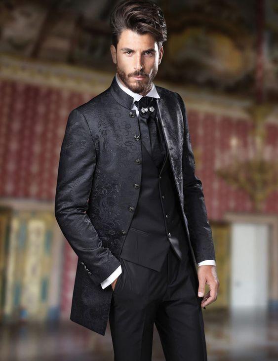Итальянский черный свадебный костюм с воротником стойкой для мужчин жаккардовый