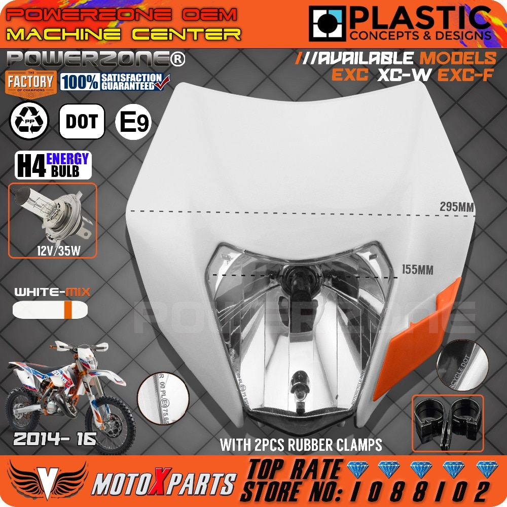 Powerzone farol branco-mix motocicleta bicicleta da sujeira motocross universal para ktm sx exc xcf smr smr 2014-16 enduro farol