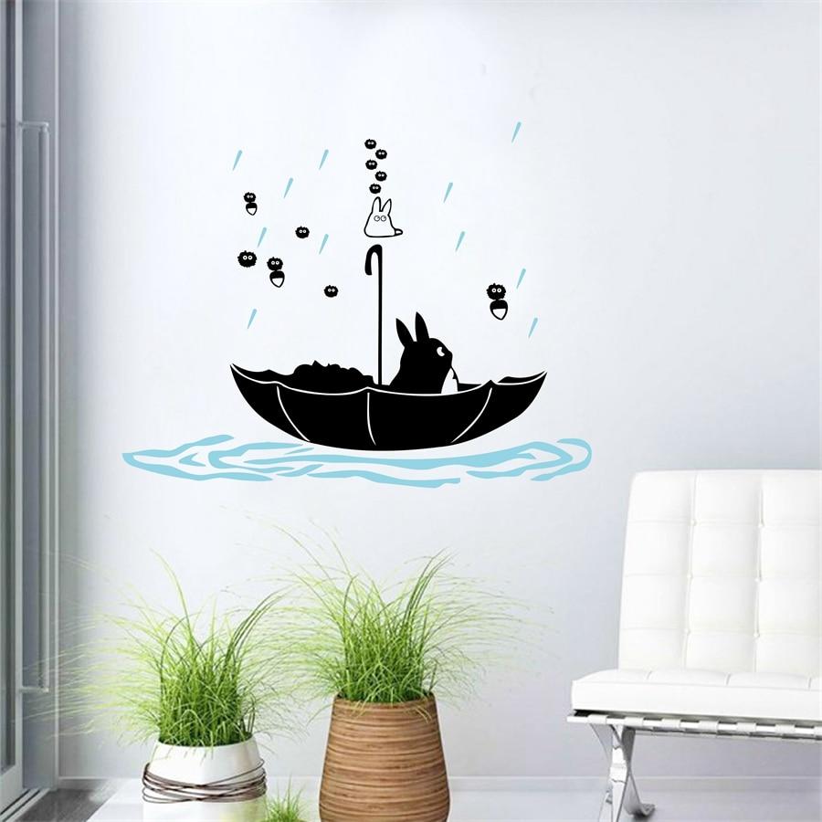 Наклейки на стену с рисунком из мультфильма «Мой сосед Тоторо», виниловые наклейки на стену для детской спальни, анимационное украшение
