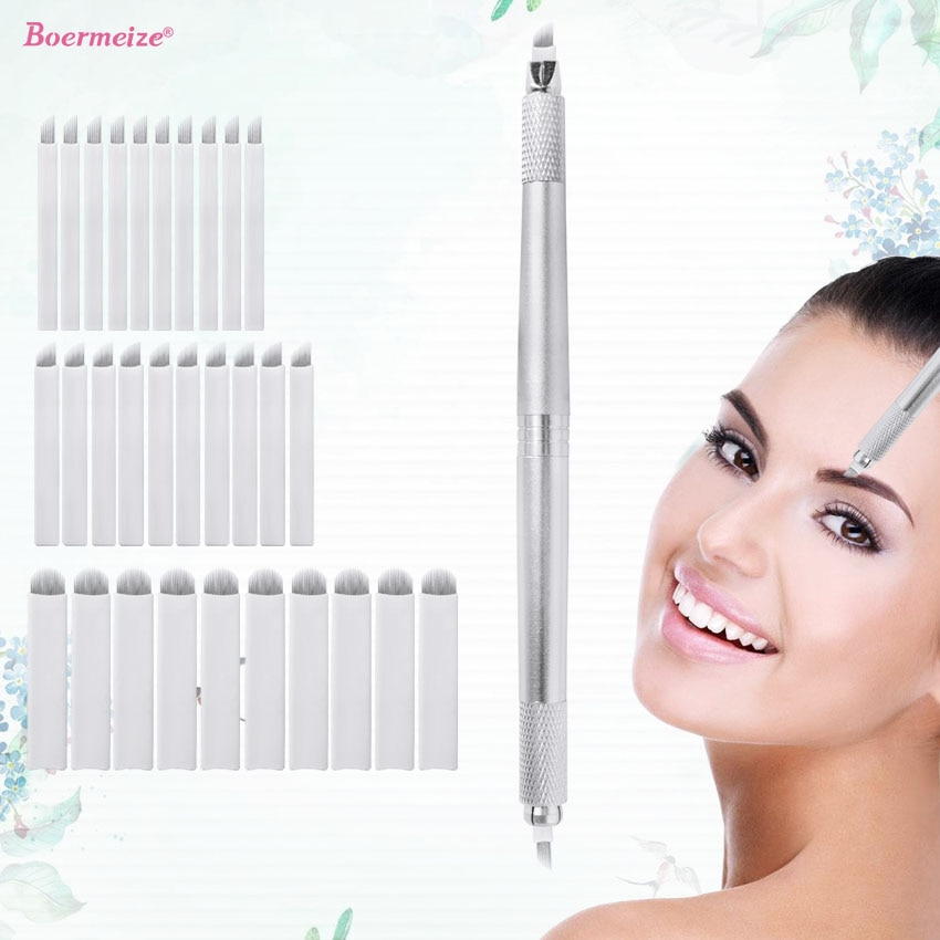 Eyebrow Microblading Kit Tattoo Manual Pen Three Head 30Pcs Needles Permanent Makeup Blades Tattoo Supplies Machine Equipment