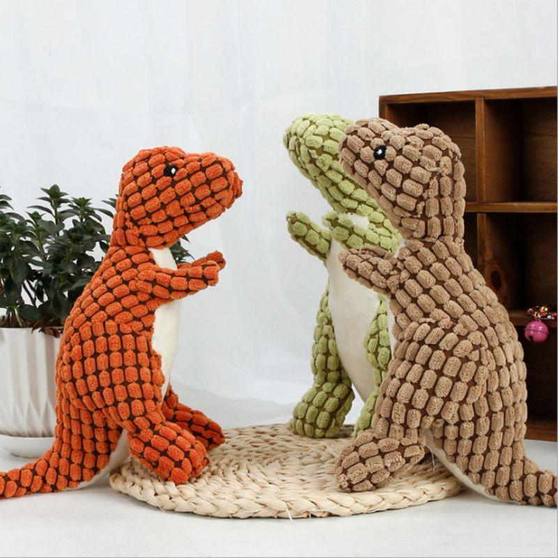 Juguetes molares de peluche con forma de dinosaurio para mascotas, juguetes chillones para perros, juguetes para Cachorros para limpiar los dientes para cachorros