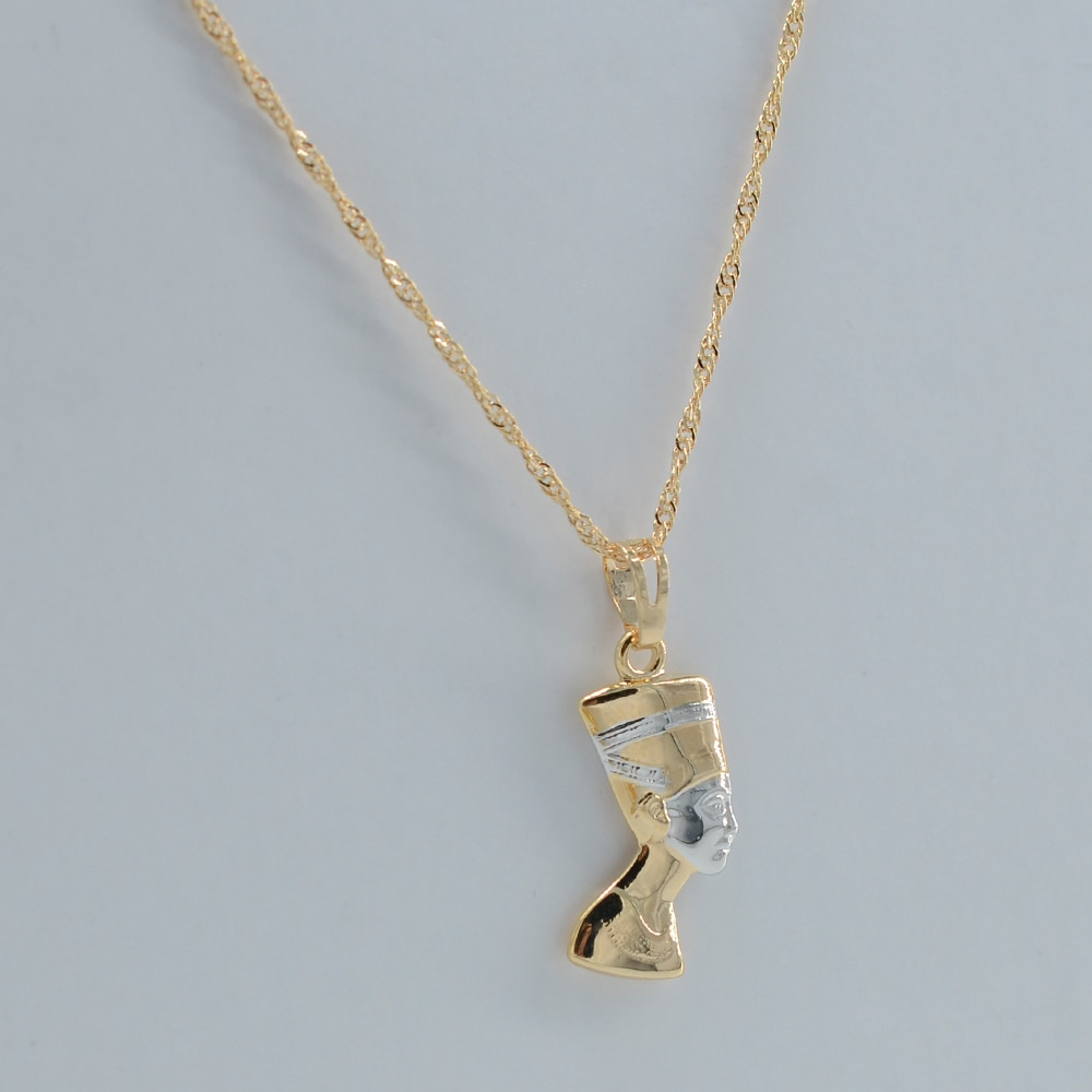 Маленькая Древняя египетская Королева Золотая подвеска ожерелье портрет Египет Нефертити голова ювелирные изделия # J0408