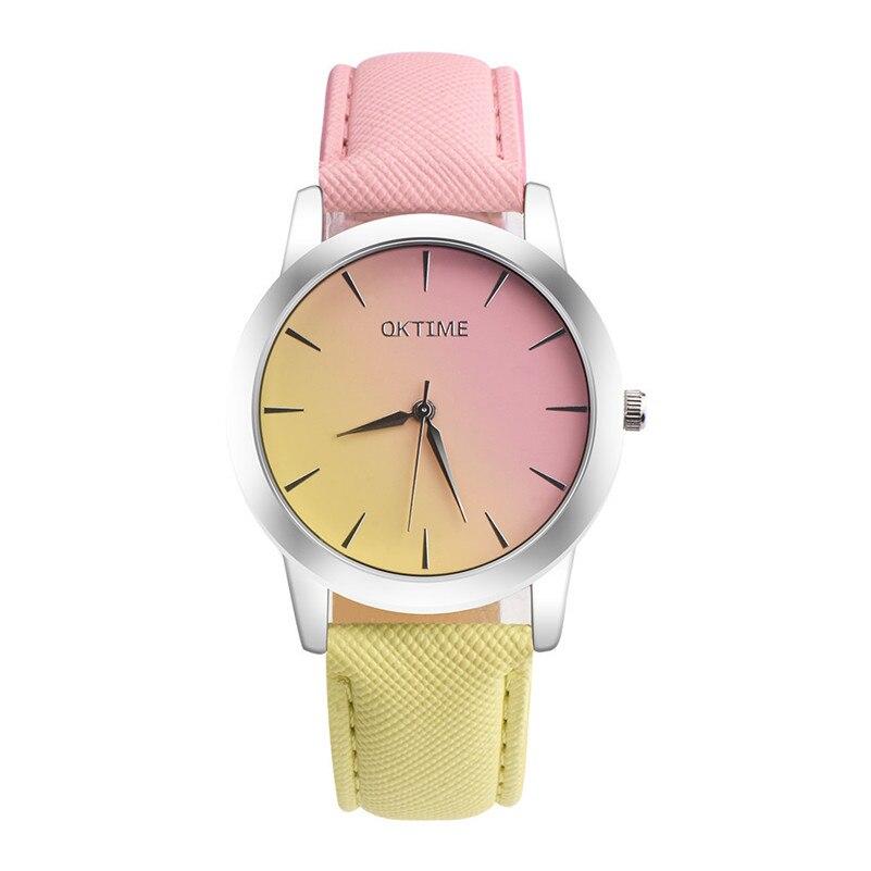 Relojes de lujo para mujer, reloj informal de diseño arcoíris para estudiante y Chica, reloj de pulsera de cuarzo con banda de cuero Multicolor para mujer, vestido # D