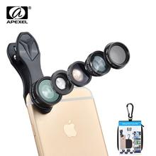 APEXEL 5 en 1 Fisheye Grand Angle Macro lentille Télescope téléobjectif lentille CPL Mobile Téléphone mini camera lens pour liphone Samsung xiaomi