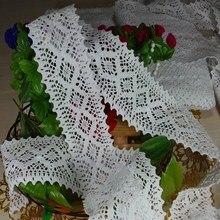 Embellissements en tricot chaîne en dentelle de coton   Pour ameublement, lacets de garniture en tissu ou en sac