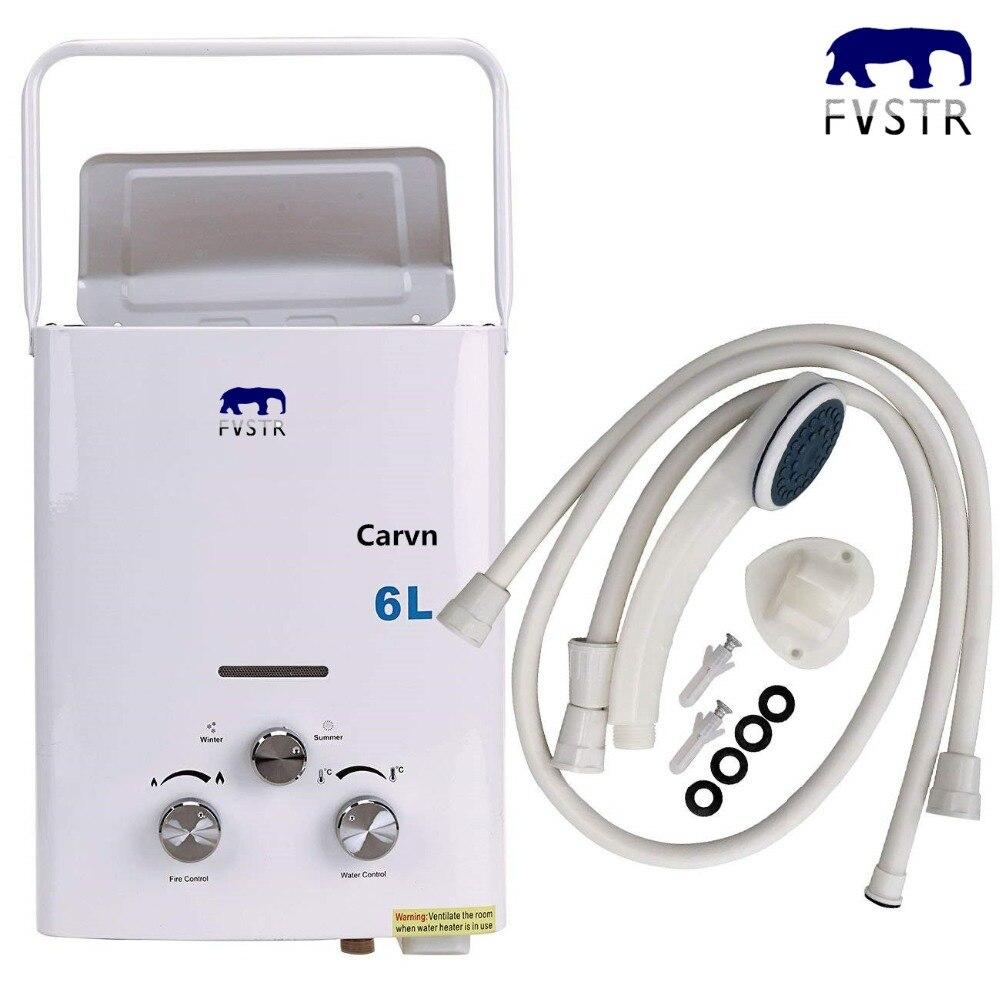 ¡Envío desde AU! Ducha al aire libre portátil 6L LPG Gas propano sin tanque calentador de agua caliente instantáneo caldera + cabezal de ducha