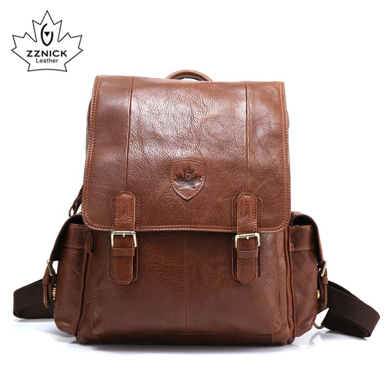 ZZNICK Men Backpacks 100% Genuine Leather Men's Travel Bag Fashion Man Backpack Casual Business Backpack Male Backpack 3910
