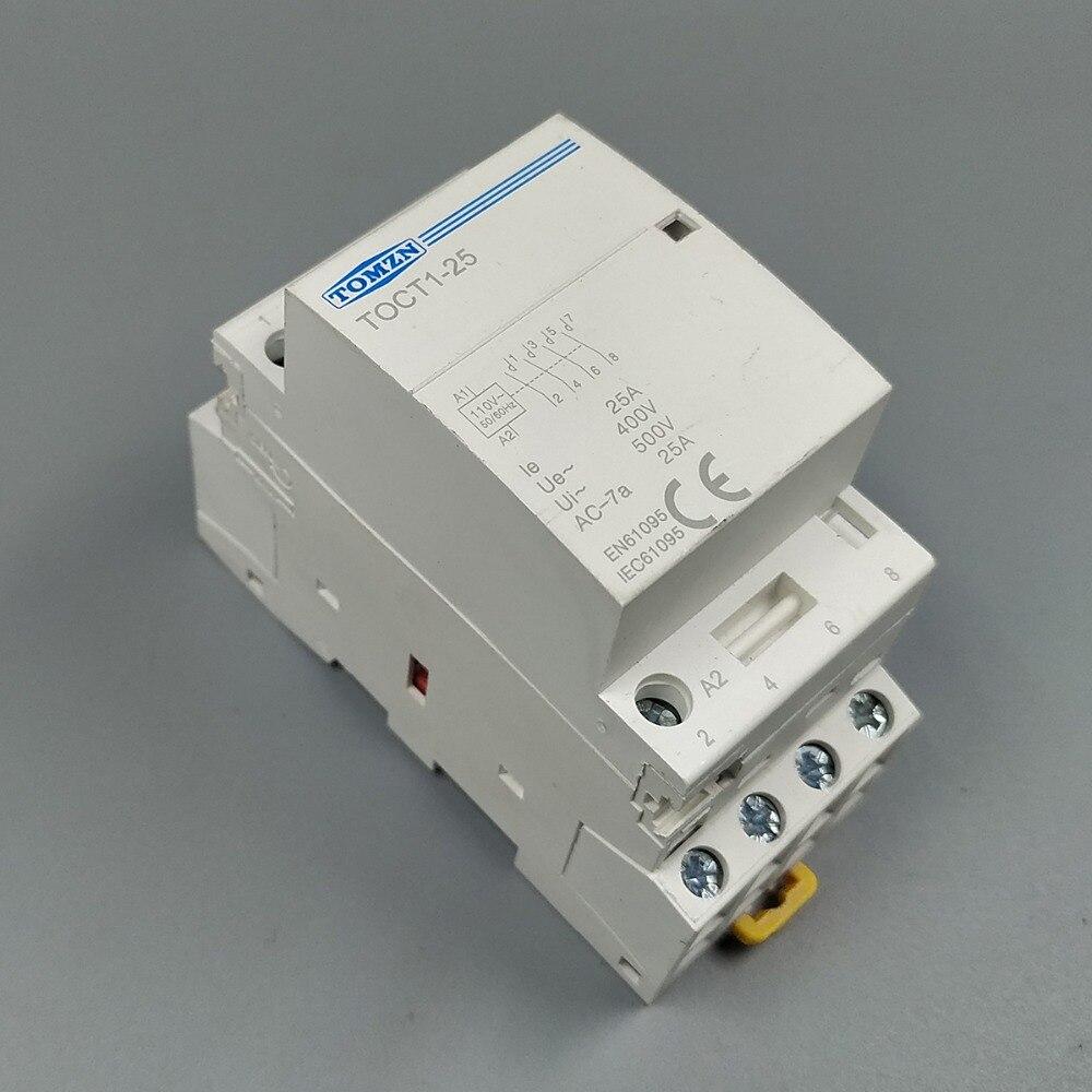 TOCT1 4P 25A 110В катушка 50/60 Гц din-рейка бытовой ac модульный контактор 4NO или 2NO 2NC контакторы