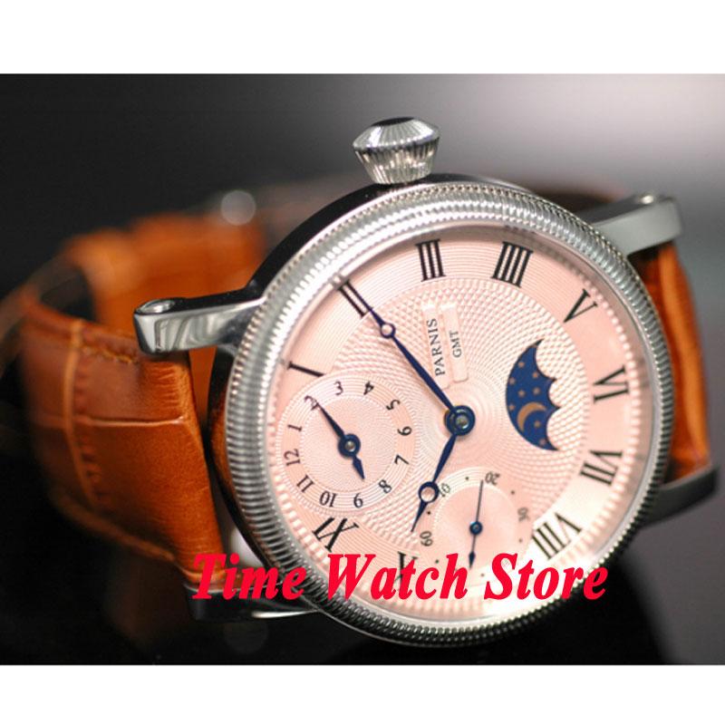 Parnis-ساعة يد للرجال ، 42 مللي متر ، مينا وردي ، أرقام رومانية ، علامات القمر ، مراحل GMT ، حركة ميكانيكية ، رياح ، 61