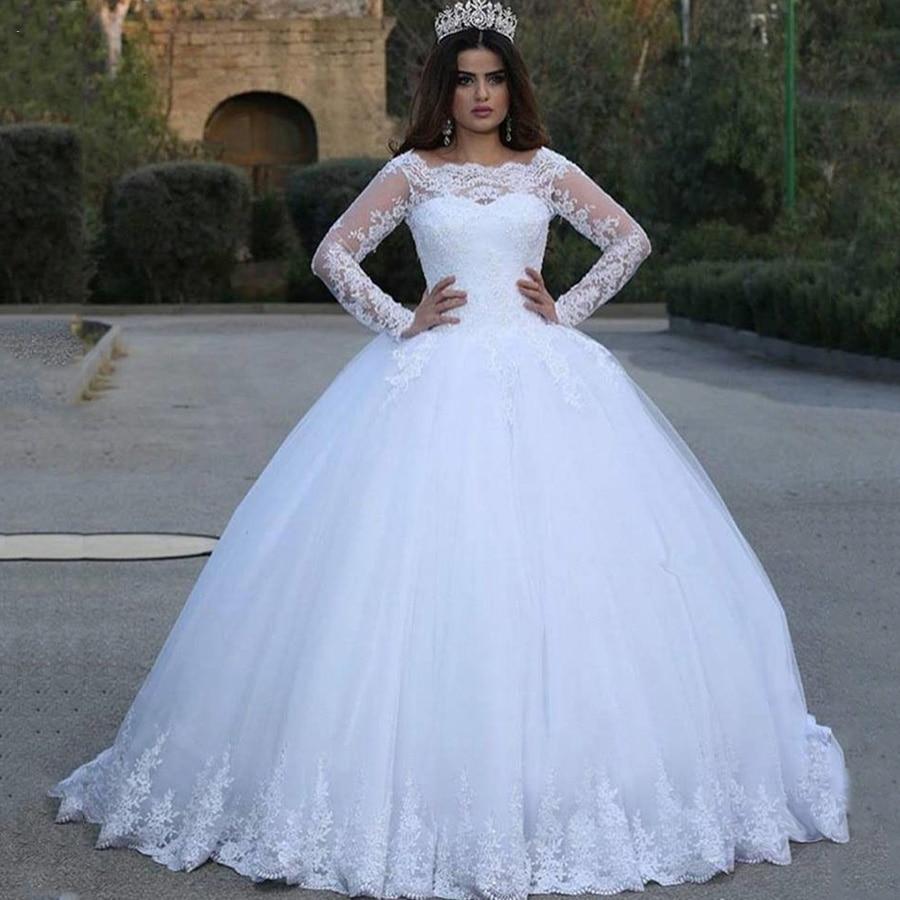 E JUE SHUNG blanco Vintage Apliques de encaje de manga larga baratos vestidos de boda vestido de baile vestidos de novia vestido de novia