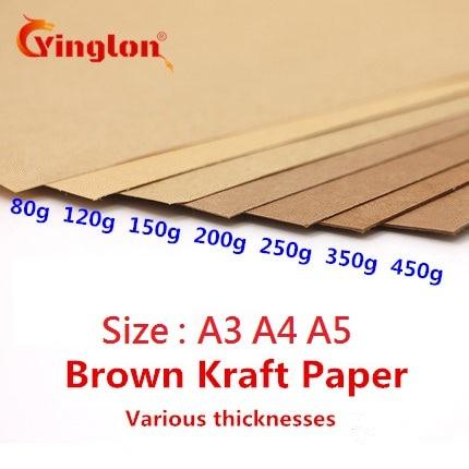 Крафт-бумага A5, A4, 50 шт./лот, коричневая крафт-бумага, толстая картонная бумага «сделай сам», бумага для изготовления карт, 80 г, 120 г, 150 г, 200 г, 250 ...