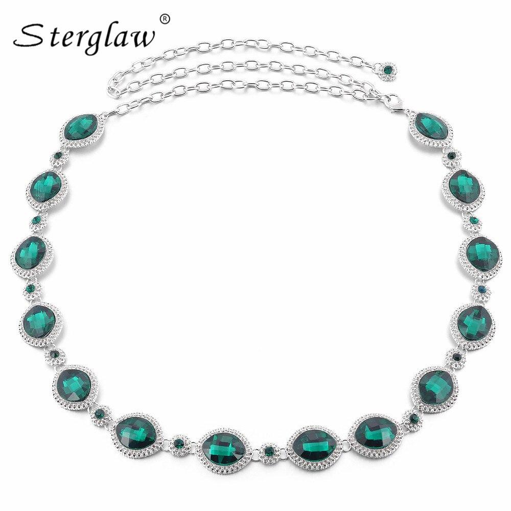 ¡Moda 2020! Cinturón de cadena para mujer con gema roja de diamante de imitación, verde, cristal, cinturón adelgazante, cinturones para vestidos F089