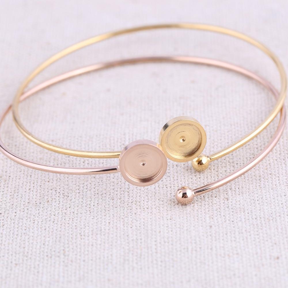 Reidgaller 5 stücke rose gold überzogene edelstahl 8mm cabochon armband basis rohlinge diy manschette armreif lünette einstellungen für schmuck