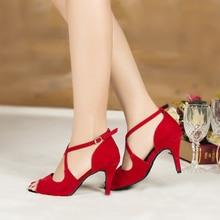 Zapatos de baile de Salón Estándar para mujer, sandalias de verano para Tango, Salsa, baile latino, en rojo, azul y negro, gran oferta