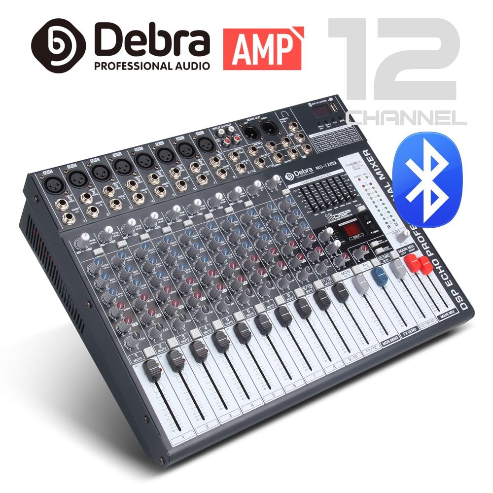 Buena calidad, sonido limpio AMPLIFICADOR DE POTENCIA DE 12 canales, 750 vatios, mezclador de Audio Digital, controlador de dj con fuente de alimentación USB Phantom de 48V