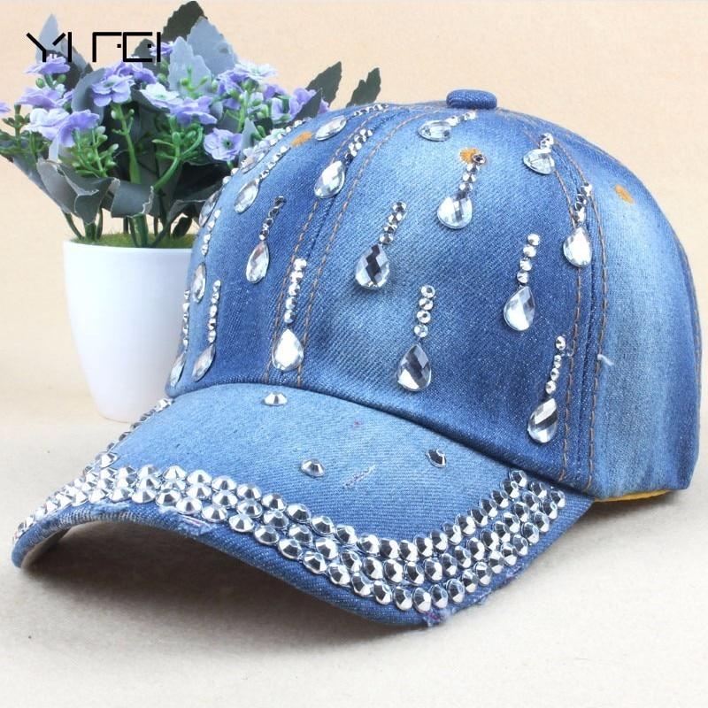 Новая джинсовая кепка в стиле хип-хоп, модная женская кепка для отдыха с каплями воды со стразами, винтажные джинсовые Хлопковые бейсболки для мужчин, горячая распродажа