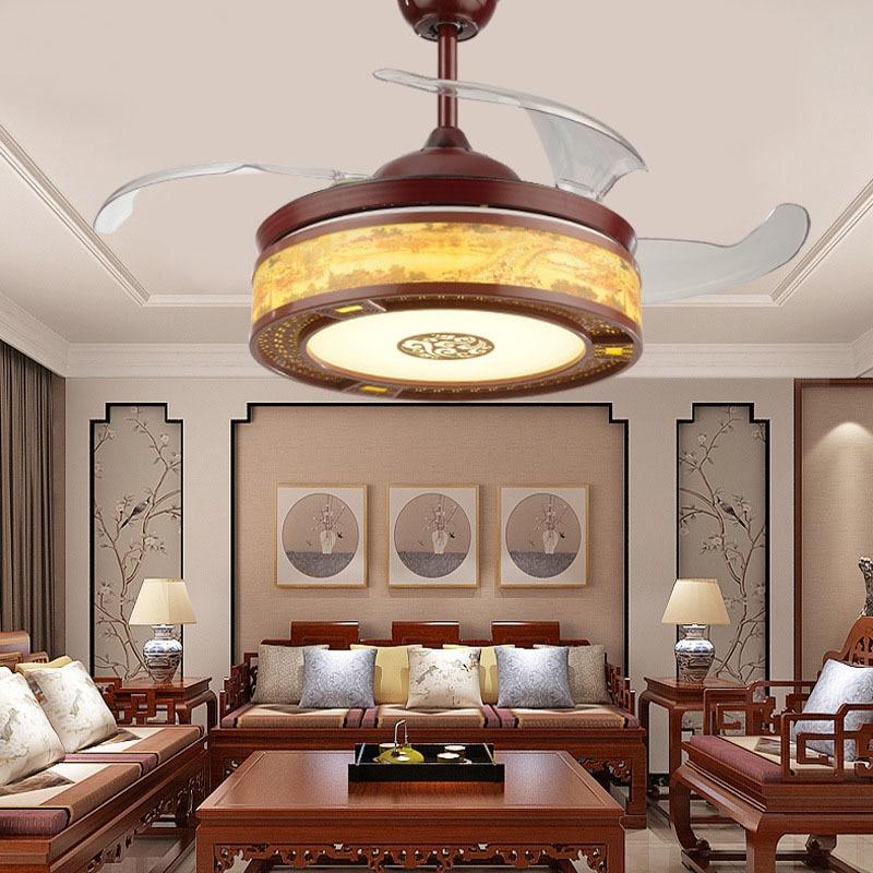 42 Polegada led clássico lustre fã da lâmpada sala de estar moderna teto curto base fã com controle remoto