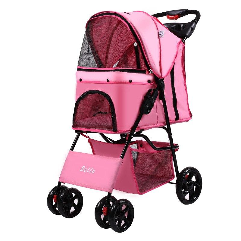 Alta calidad, carrito plegable de cuatro ruedas Oxford para mascotas, para gatos, perros, gatos, carritos para pasear con capa de almacenamiento