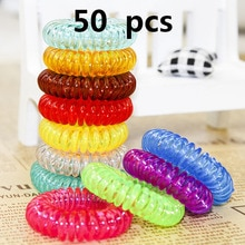 New 50PCS/LOT Elastic Hair Bands Girls Hair Accessories Rubber Band Headwear Hair Rope Spiral Shape Hair Ties Gum Telephone Wire