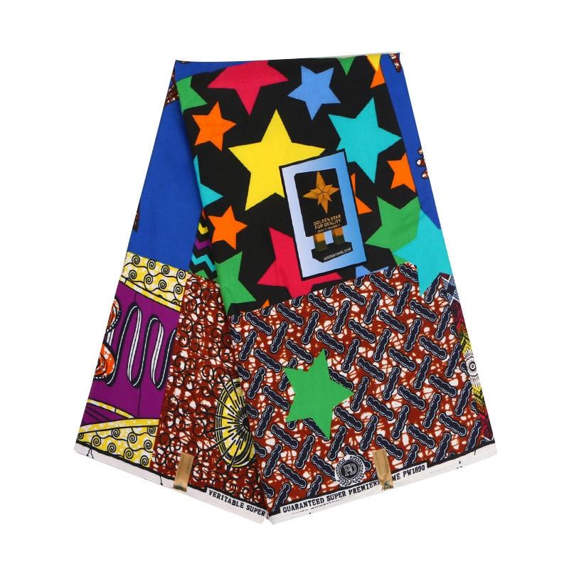 Colorida estrella Ghana Kente cera Africana Kitenge impresión tela para tela nigeriana Chitenge Ankara tela para traje de traje 6 yardas