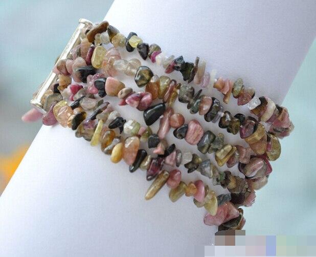 Gran oferta >@@> 08743 5row rosa amarillo marrón turmalina pulsera detritus