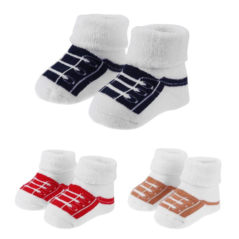 Носки-тапочки для новорожденных, 1 пара, зимние теплые мягкие хлопковые носки для мальчиков и девочек, Носки с рисунком, нескользящая домашняя одежда для детей