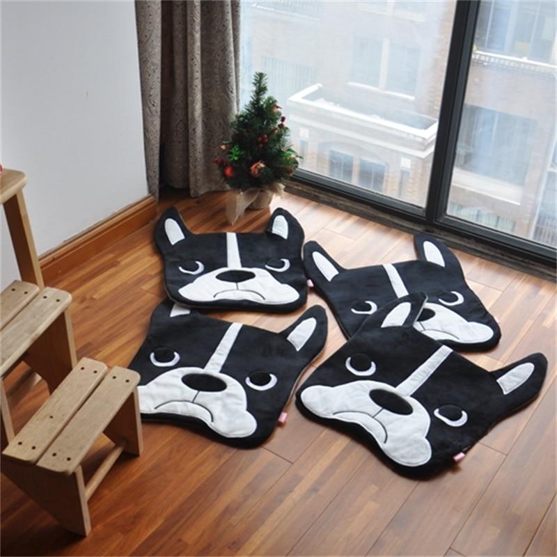 1pc 50x40cm Cartoon carpet Bulldog carpet dog sleeping mat Living room plush mat Bedroom foot pad Long woolen carpet felt smooth 55x40 cm cartoon shiba inu carpet dog sleeping mat living room mat toy for bedroom