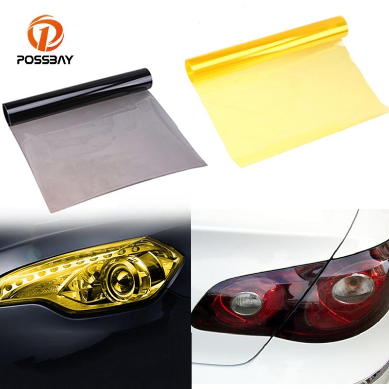 POSSABY, luz antiniebla amarilla de PVC para coche, película de tintado, pegatina para Auto, Faro, luz trasera, película tintada, cubierta protectora de lámina, Pegatinas