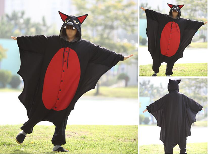 Nuevo vampiro murciélago traje Onesies adultos negro bate Mans mal bate Cosplay Onesies para Halloween fiesta de disfraces