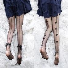 Jeseca Sexy Women Vintage Pantyhose Summer Nylon Bowknot Japanese Kawaii Tights Girls Lovely Black Mesh Fishnet Slim Net Tight