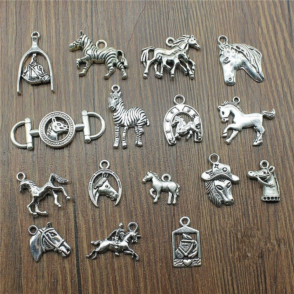 10pcs/lot Charms Horse Antique Silver Color Horse Pendant Charms Horse Head Charms For Jewelry Making