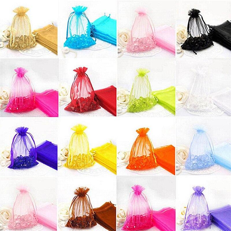 Bolsa de Organza de 7x9cm, bolsas para exhibir joyas, bolsas de decoración para fiesta de boda, 50 Uds. A elegir, bolsa de joyería de 7 colores