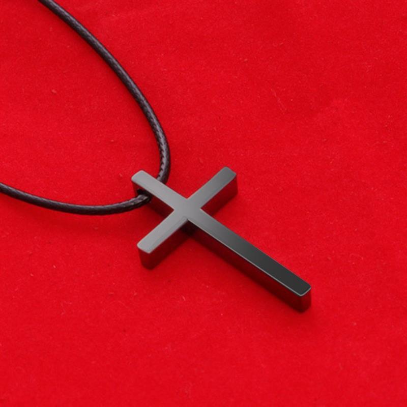 OBSEDE, новинка, простое ожерелье в виде креста, черная кожаная веревка, модное античное серебряное ювелирное изделие в стиле панк из сплава для женщин и мужчин, подарок