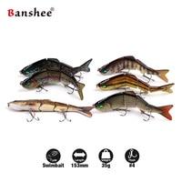 Banshee 6pcs/lot 153mm 35g Nexus Prophecy VMJ04-6 Multi Jointed Minnow Fishing lure Best Rattle Sound wobbler Sinking Swimbait