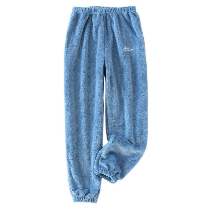 Fashion couple flannel home sleep bottoms women Coral velvet winter warm women sleep pants womens pajama bottoms trousers