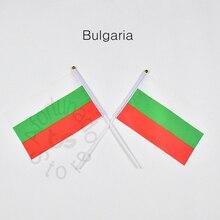 Drapeau bulgare 14*21cm 10 pièces   Banderole, drapeau à la main pour rencontre, défilé, fête, accrochage, décoration