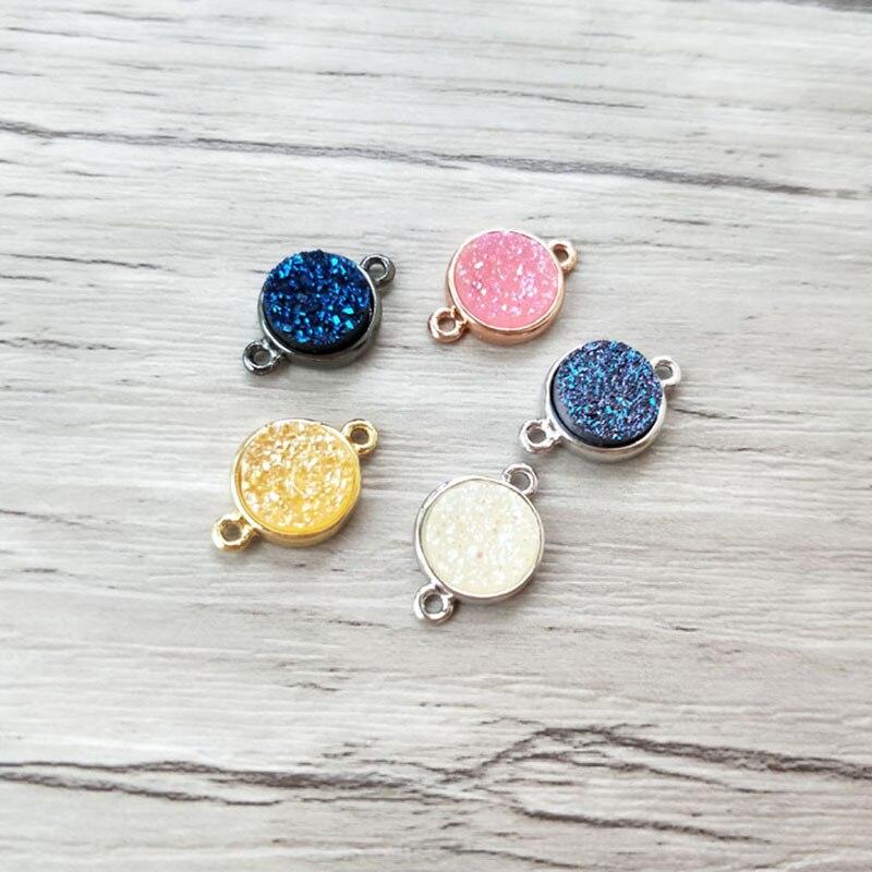 10 piezas mezcla de colores Drusa natural geoda cuarzo Piedra de titanio charm connector doble Bail DIY hacer pulsera mujer joyería CT444