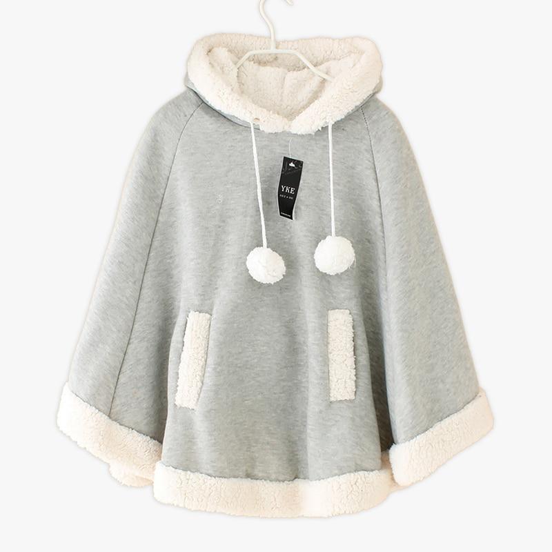 DE MODA DE COREA Kawaii japonés chal de abrigo de las mujeres de Jersey de Cachemira Color sólido suelta capa chaqueta mujer otoño invierno nuevo