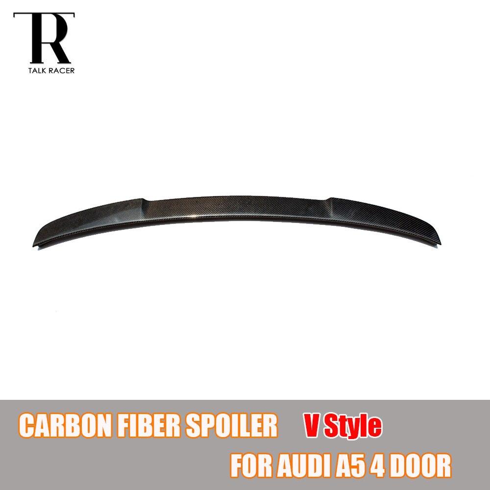 A5 S5 V estilo fibra de carbono techo trasero Spoiler tronco ala para Audi A5 S5 sedán de 4 puertas 2009- 2016
