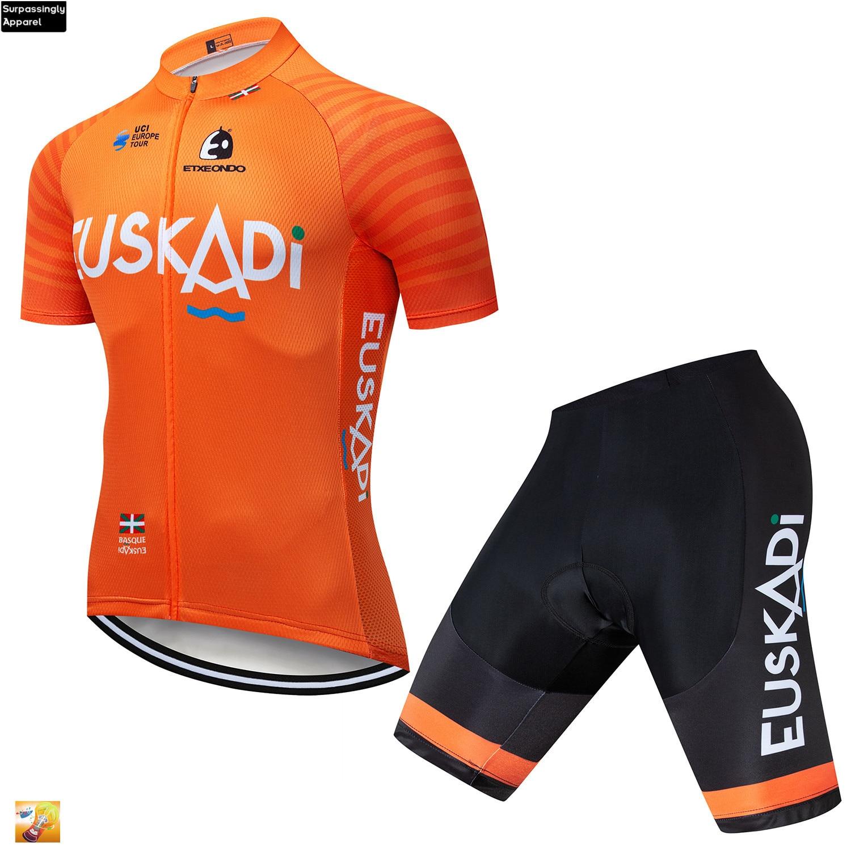 2019 Pro nuevo Etxeondo equipo Ciclismo Jersey conjuntos naranja manga corta verano Ropa Ciclismo 16D GEL Pad