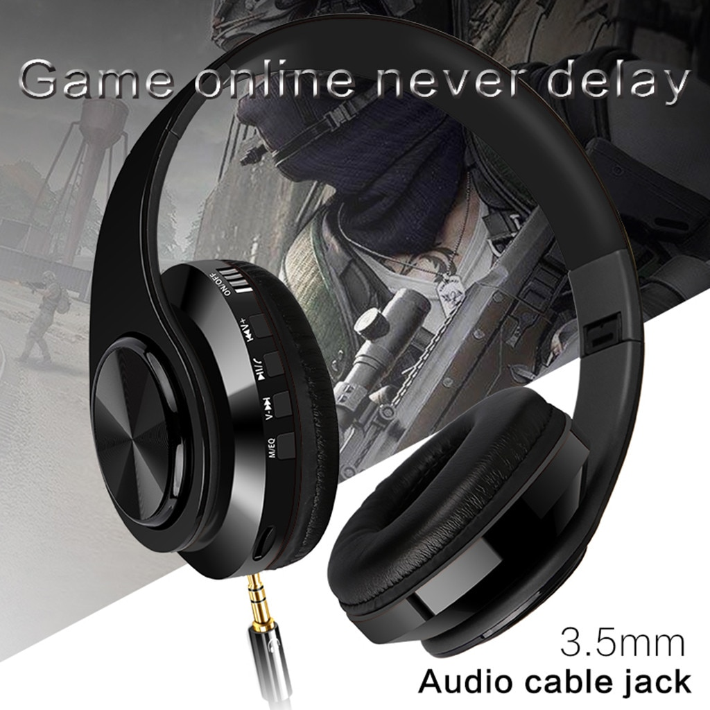 Beautyss-auriculares inalámbricos, por Bluetooth, auriculares estéreo deportivos para exteriores con micrófono y soporte para tarjeta TF