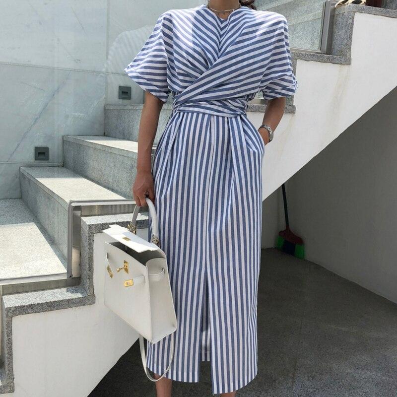 Корейское женское летнее хлопковое синее Полосатое Бандажное длинное платье с разрезом женское длинное облегающее платье больших размеров Vestido Robe Femme Ete Sukienki