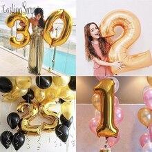 Ballon chiffres en feuille 40 pouces à hélium   Ballon numéro Happy 18, Ballon à Air pour décoration de fête, ballons Globos