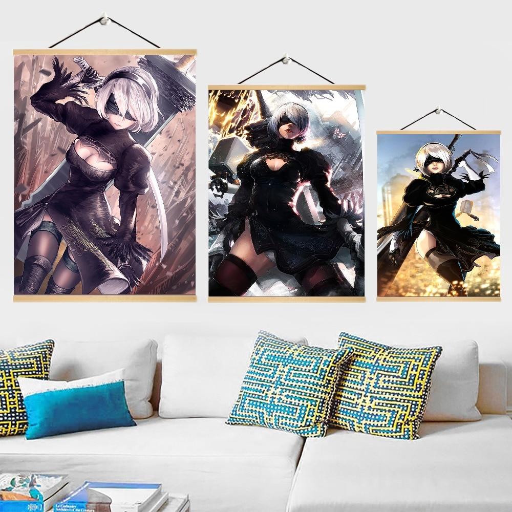 Juego NieR Automata Poster decoración del hogar sala de estar de madera sólida rollo colgante pintura de alta calidad lienzo estilo de impresión
