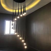 LED Pendant lights High bright Lights Long Design Saving Energy Luxury Aluminum Stair spiral Light Hotel Villa 110-220V