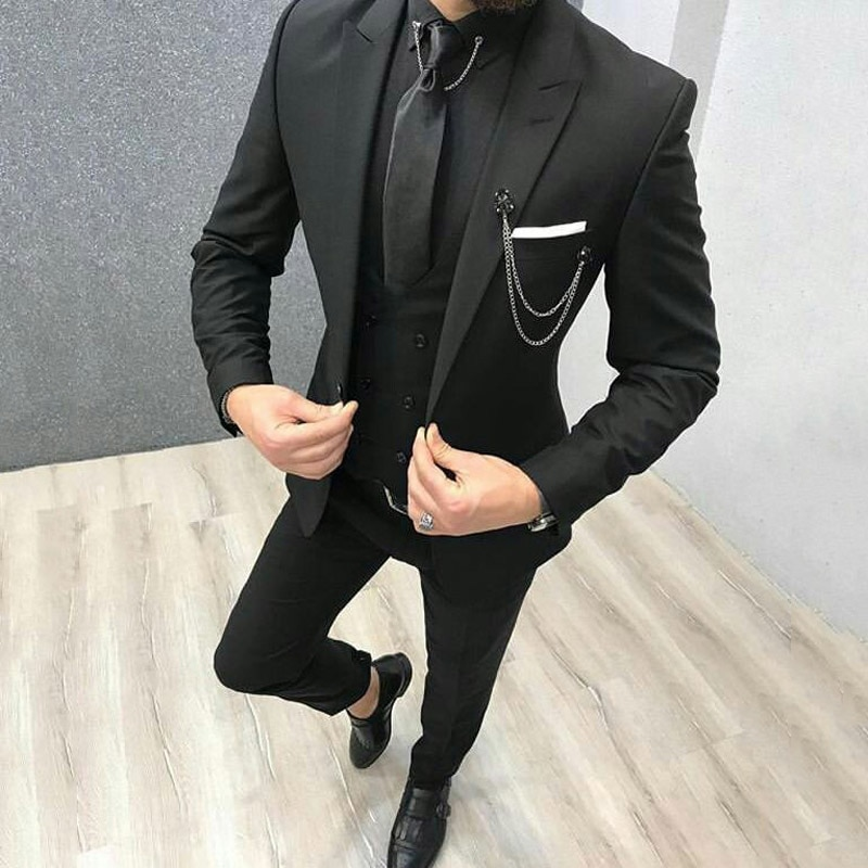 Latest Coat Pant Designs Black Mens Suits Man Blazers Groom Wedding Tuxedos Peaked Lapel Bridegroom Wear 3piece Evening Party