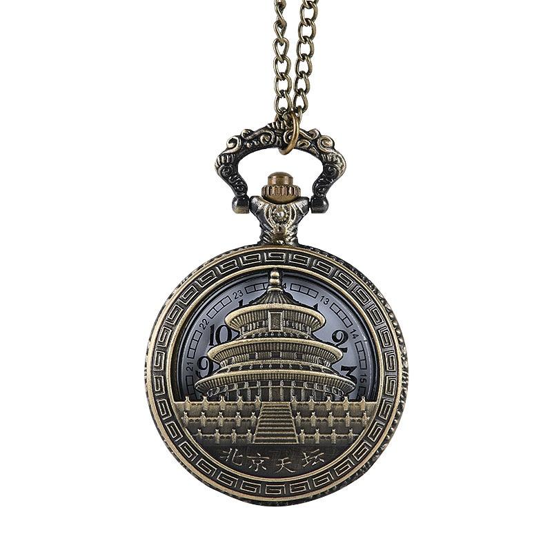 Reloj de bolsillo conmemorativo de Turismo de Beijing, venta al por mayor de fábrica, cadena fina de bronce, Templo del Cielo, edificio, reloj de bolsillo