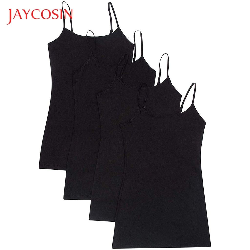 JAYCOSIN mujeres 4PC chaleco hombro ajustable Top blusa Casual Tops sin mangas camiseta chaleco sujetador básico para lavado conveniente 0711